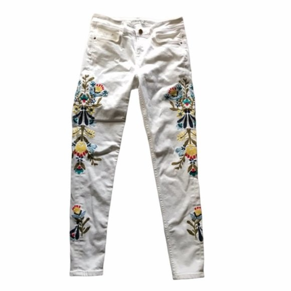 Zara Denim White Embroidered Skinny Jeans